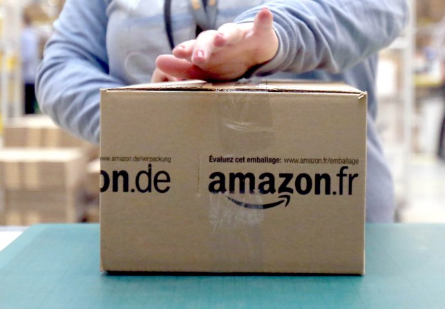 An Amazon package being taped up