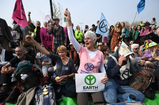 Extinction Rebellion climate change demonstrators have held Waterloo Bridge (Picture: Andy Rain/EPA)