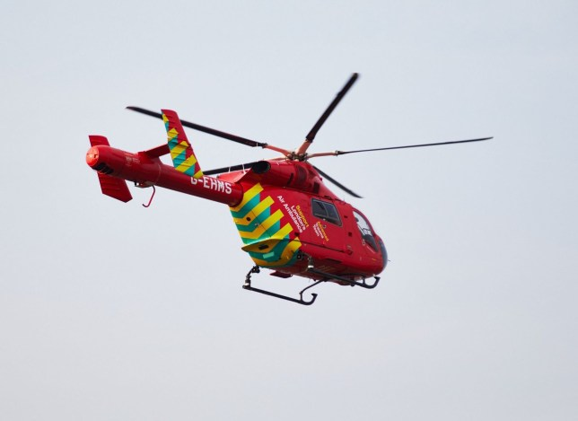 Mandatory Credit: Photo by Emerson Utracik/REX (10212677a) London Air Ambulance's Advanced Trauma Team takes off from the scene Stabbing on Mathias Road, London, UK - 17 Apr 2019