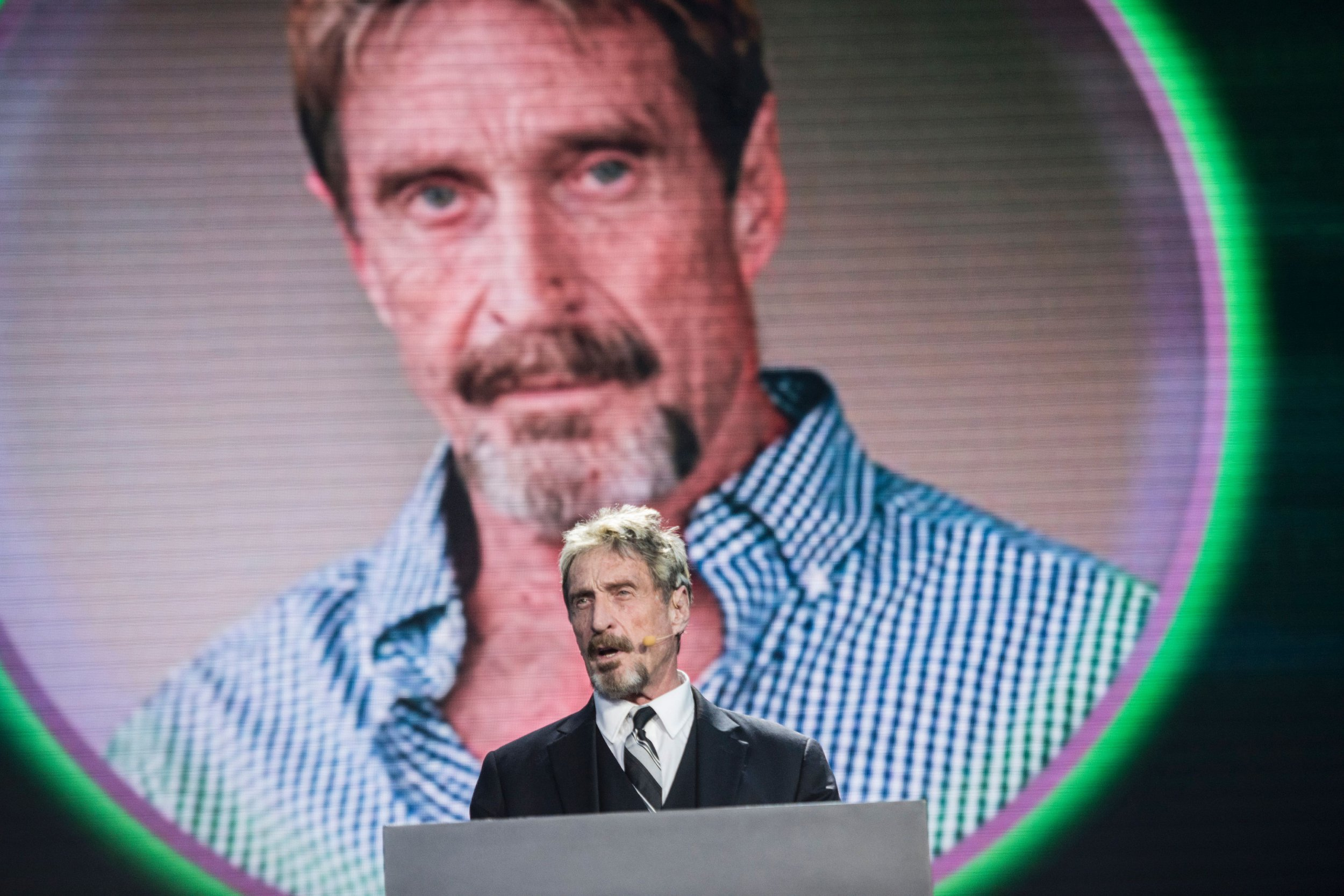 John McAfee, owner of a eponymous anti-virus company, speaks during a China Internet Security Conference in Beijing on Aug 16, 2016. / AFP / FRED DUFOUR (Photo credit should review FRED DUFOUR/AFP/Getty Images)