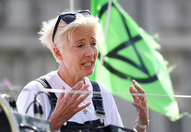 epa07515674 British actress Emma Thompson participates at an Extinction Rebellion climate change demonstration at Oxfords Circus in London, Britain, 19 April 2019. Extinction Rebellion climate change protestors are in their fifth day since protests began in London. EPA/ANDY RAIN
