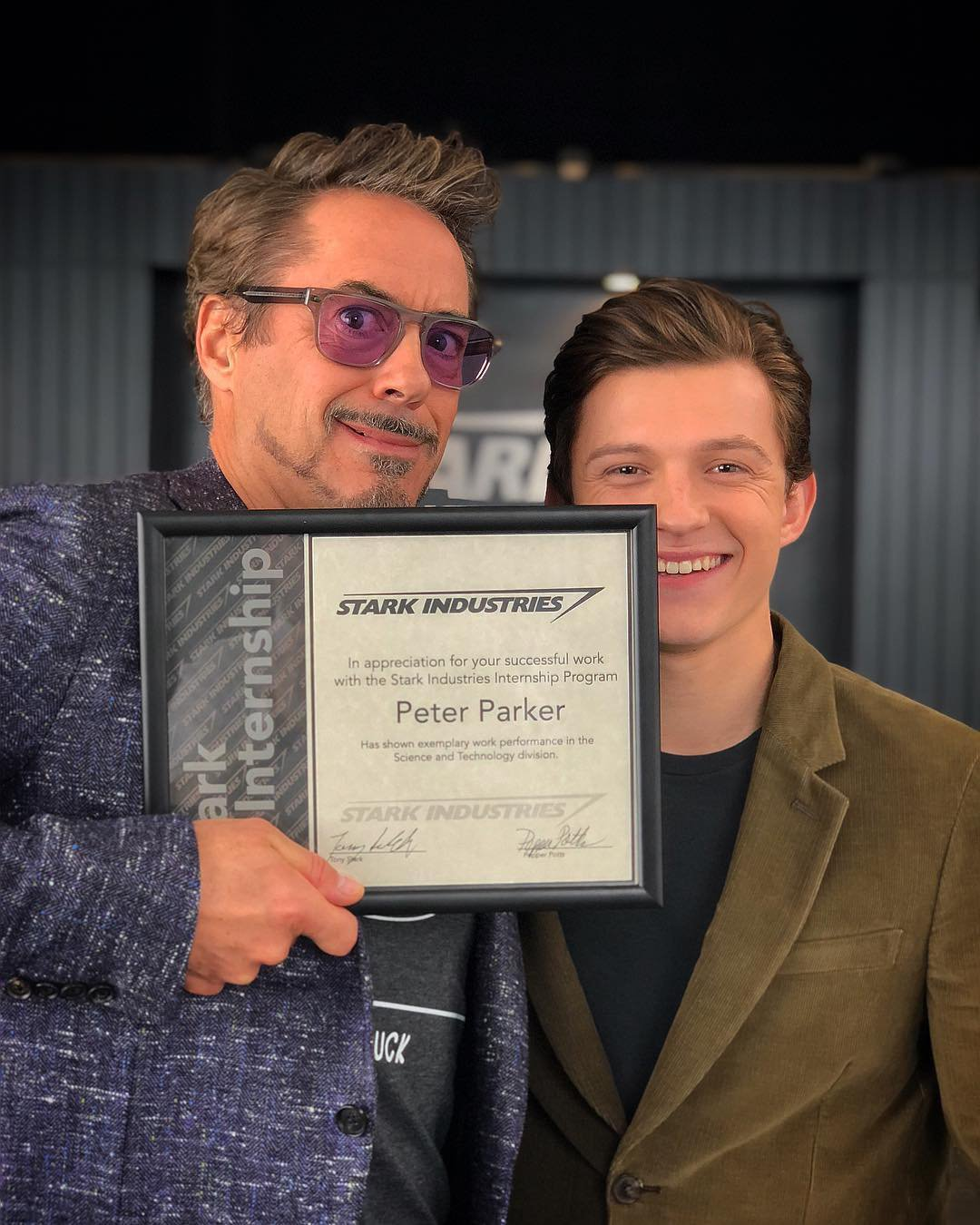 Avengers' Robert Downey Jr and Tom Holland