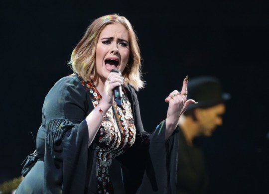 Adele performing at Glastonbury in 2016