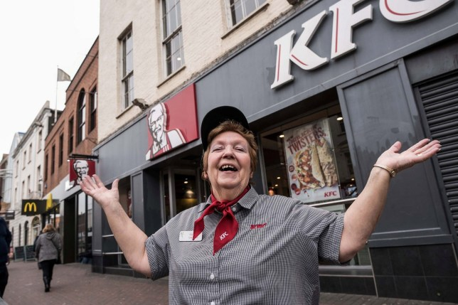 "Long serving KFC employee Pauline has worked in Taunton's KFC for an incredible 41 years. See SWNS story SWBRkfc; A woman has worked at KFC for 41 YEARS serving up over five MILLION drumsticks - and has no plans to retire. Dedicated Pauline Richards, 68, started at the branch in Taunton in Somerset in 1978. She has worked nearly every possible role at the fast food branch including a cleaner, cashier, supervisor, manager and team leader. Because she ""always serves with a smile"" and has a ""bit of banter"" with customers at the East Street branch has become a cult hero in the town. The team member revealed children, regular diners, residents and even cricketers would call her ""Miss KFC"". She said: ""When I go out for a break, children would shout over to me 'Hello Miss KFC' and call me 'Mum' and 'Nan'."