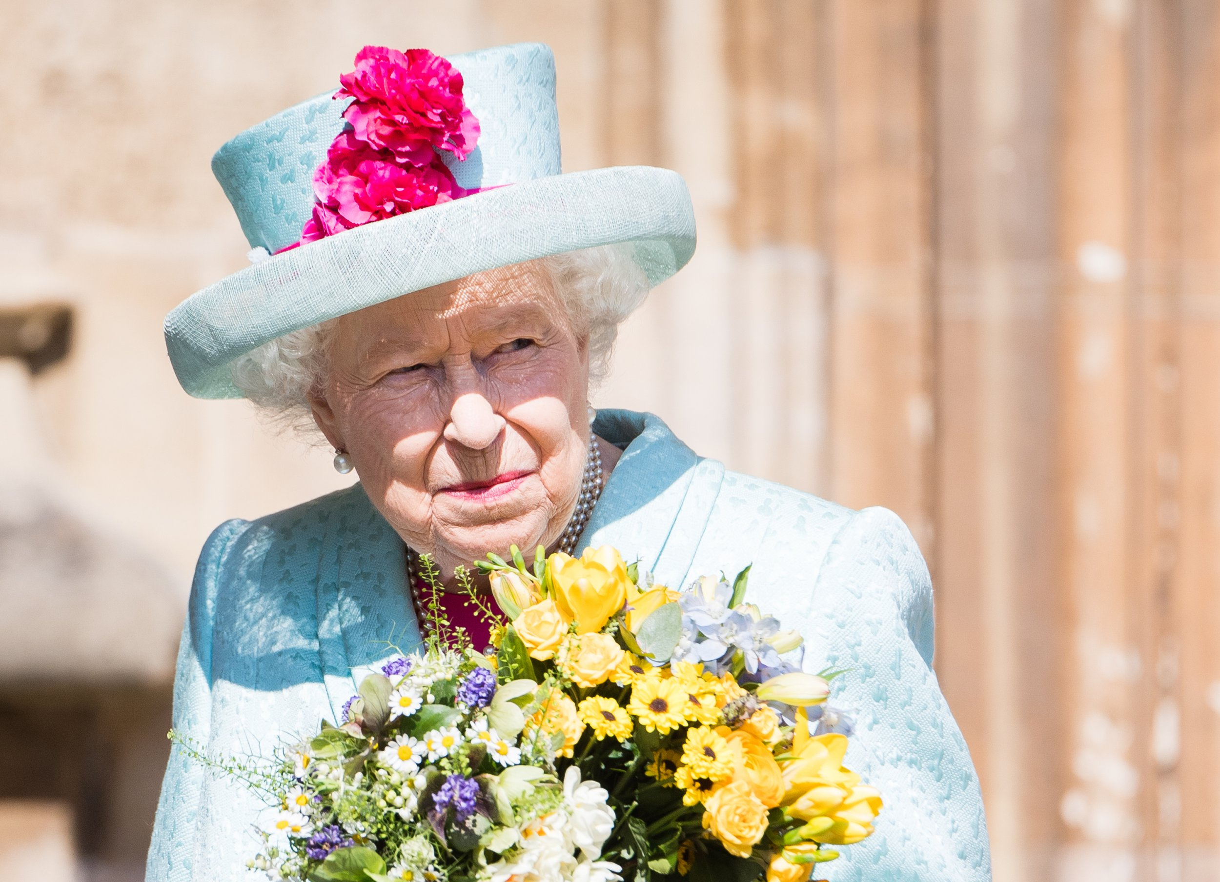 WINDSOR, ENGLAND - APRIL 21: Queen Elizabeth II attends Easter Sunday service at St George's Chapel on April 21, 2019 in Windsor, England. (Photo by Samir Hussein/Samir Hussein/WireImage)