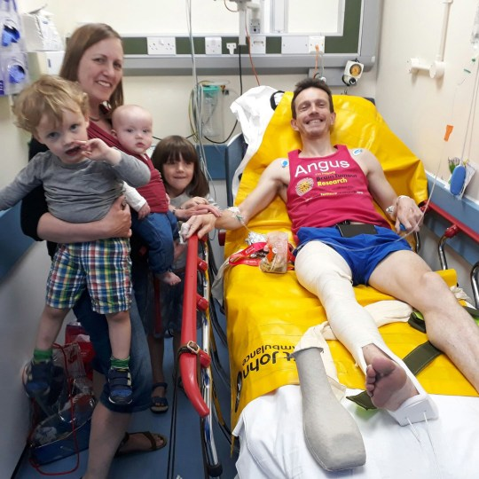 Undated handout photo issued by Angus Cameron whose leg ?snapped? just metres from the Virgin Money London Marathon finish line, with wife Amy and children Lola, six, Fraser, three, and Edith, one. PRESS ASSOCIATION Photo. Issue date: Sunday April 21, 2019. Last year Angus Cameron, 46, was close to getting a personal best of under three hours in his fourth London Marathon when his femur (thigh bone) broke and then displaced, leaving him collapsed on the ground. See PA story SPORT Marathon. Photo credit should read: Angus Cameron/PA Wire NOTE TO EDITORS: This handout photo may only be used in for editorial reporting purposes for the contemporaneous illustration of events, things or the people in the image or facts mentioned in the caption. Reuse of the picture may require further permission from the copyright holder.
