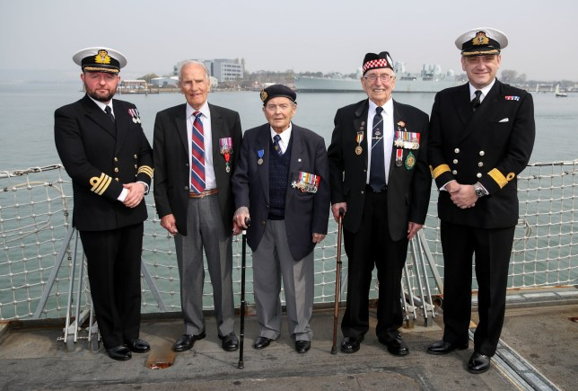 (left to right) Commodore Mike Utley with D-Day veterans Greg Hayward, 93, who served with the RAF, Eric Strange, 95, who served with the Royal Navy and Leonard Williams, 93, who served with the Argyll and Sutherland Highlanders, and Commander John Cromie on board HMS St Albans, during an announcement for D-Day 75th anniversary commemorations. PRESS ASSOCIATION Photo. Picture date: Wednesday April 17, 2019. See PA story DEFENCE DDay. Photo credit should read: Andrew Matthews/PA Wire