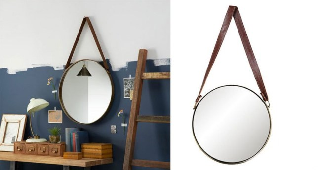 Left: Ronda Round Hanging Mirror, Dia.50cm, Brass, £95, John Lewis & Partners Right: Fox & Ivy Faux Leather Handle Mirror, £15, Tesco (in stores only)
