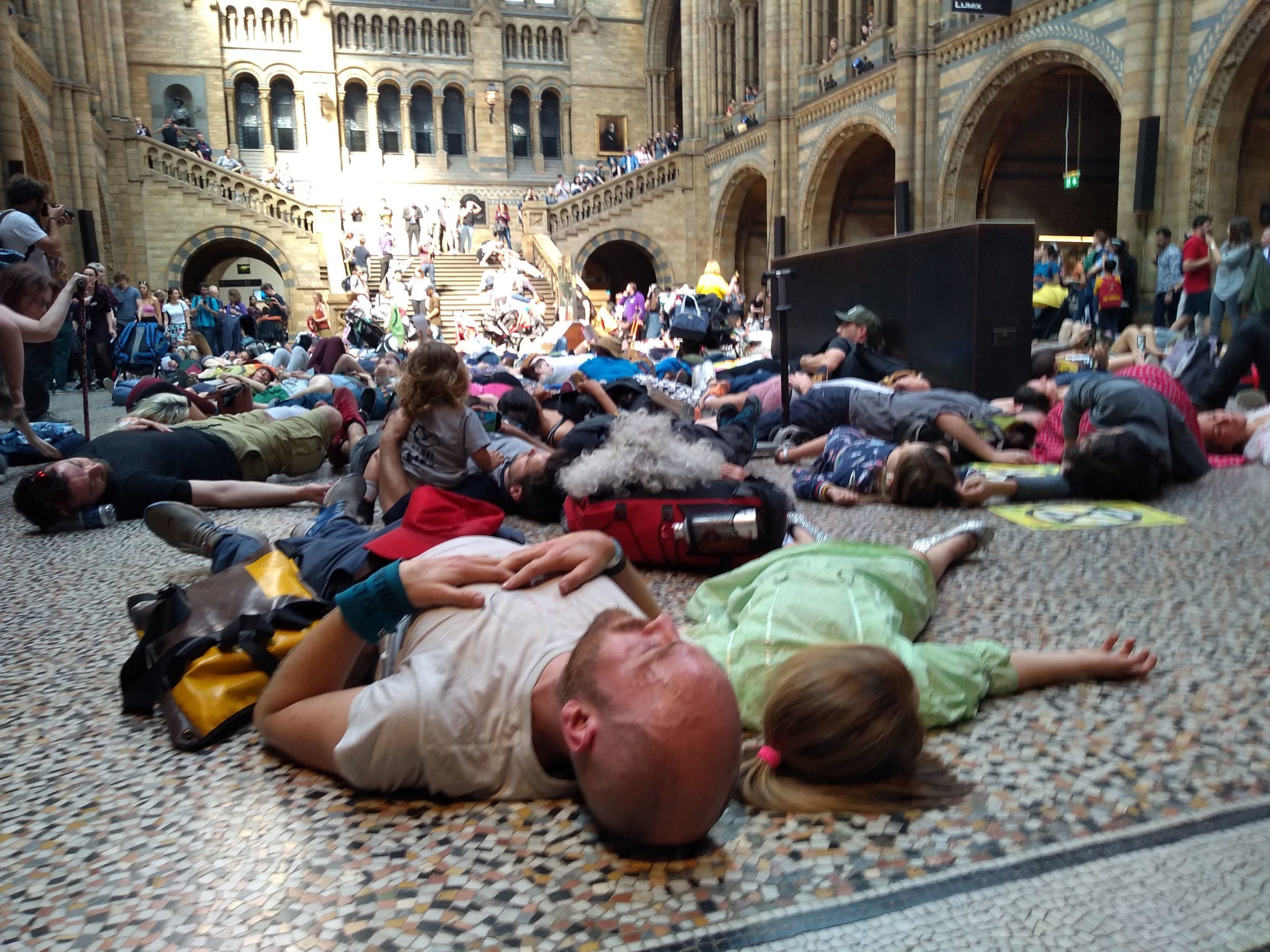 Extinction Rebellion stage mass 'die-in' at Natural History Museum