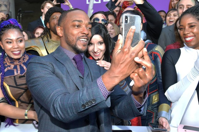 "LOS ANGELES, CA - APRIL 22: Anthony Mackie attends the world premiere of Walt Disney Studios Motion Pictures ""Avengers: Endgame"" at the Los Angeles Convention Center on April 22, 2019 in Los Angeles, California. (Photo by Amy Sussman/Getty Images)"