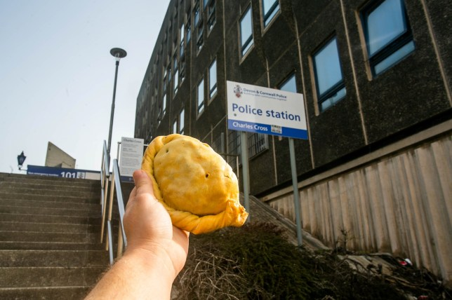 A pasty outside of the Charles Cross Police Station in Plymouth, Devon. 23/04/2019 See SWNS story SWPLpasty. Police have been criticised after revealing they dish out free award winning PASTIES - to suspects in custody. Officers in Devon hand out pies from one of the region's top bakeries for those arrested on suspicion of committing crimes and locked up in their cells. Sharles Cross station in Plymouth, Devon, receives a daily delivery from Friary Mill, with a range of hand-made freshly cooked options made available. The menu includes traditional pasties, cheese and onion pasties, vegan pasties as well as hot sausage rolls.