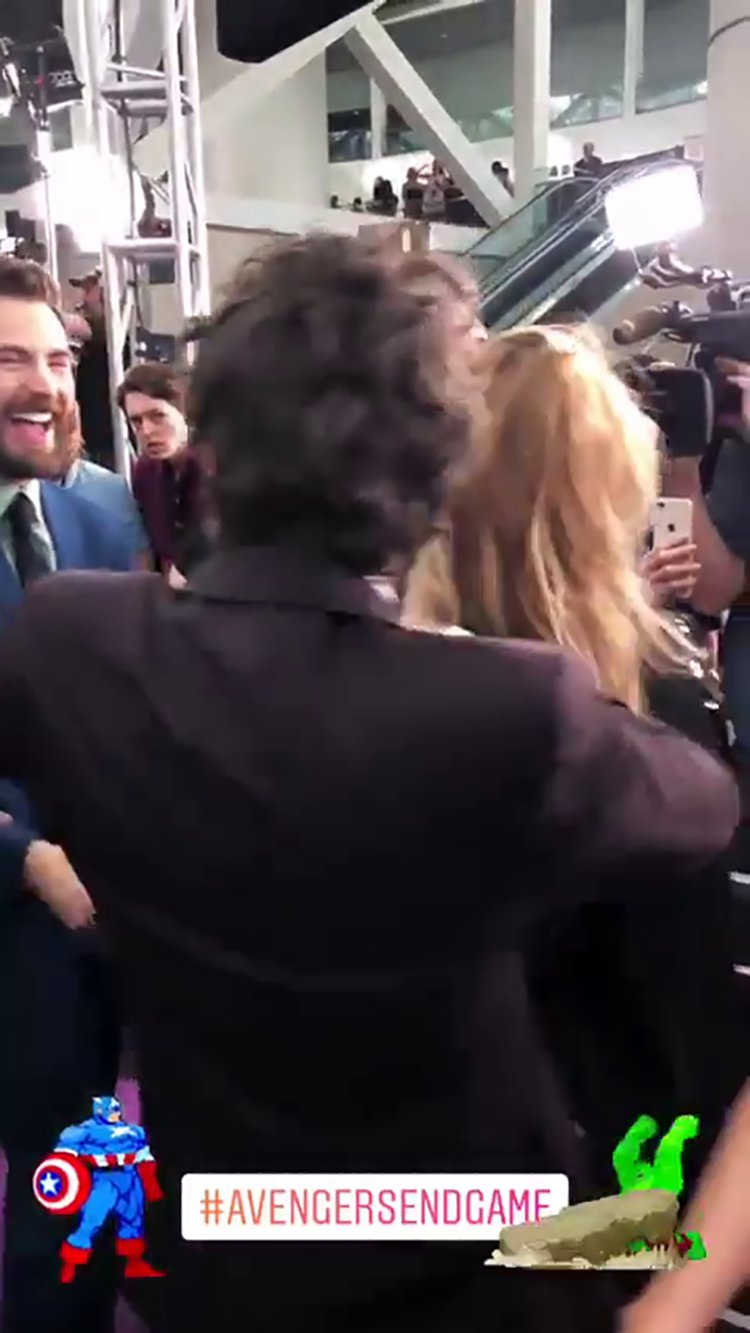 Mark Ruffalo jokingly separates his wife from Chris Evans at Avengers premiere Video grab from @markruffalo/Instagram story https://videos.metro.co.uk/video/met/2019/04/23/2065459251065306934/1024x576_MP4_2065459251065306934.mp4