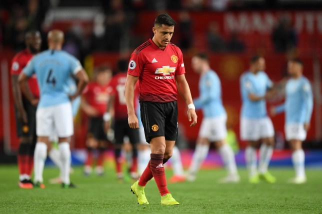 MANCHESTER, ENGLAND - APRIL 24: Alexis Sanchez of Manchester United looks dejected after the Premier League match between Manchester United and Manchester City at Old Trafford on April 24, 2019 in Manchester, United Kingdom. (Photo by Shaun Botterill/Getty Images)