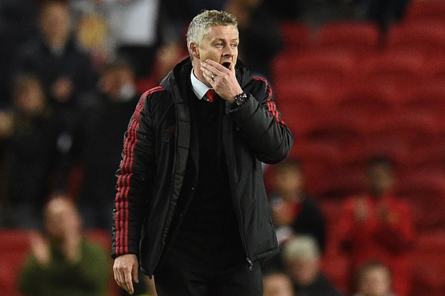 Manchester United's Norwegian manager Ole Gunnar Solskjaer reacts after the English Premier League football match between Manchester United and Manchester City at Old Trafford in Manchester, north west England, on April 24, 2019. - Manchester City won the match 2-0. (Photo by Oli SCARFF / AFP) / RESTRICTED TO EDITORIAL USE. No use with unauthorized audio, video, data, fixture lists, club/league logos or 'live' services. Online in-match use limited to 120 images. An additional 40 images may be used in extra time. No video emulation. Social media in-match use limited to 120 images. An additional 40 images may be used in extra time. No use in betting publications, games or single club/league/player publications. / OLI SCARFF/AFP/Getty Images