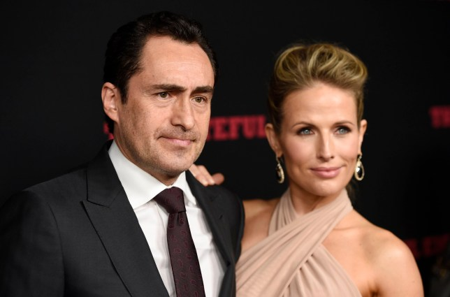 "FILE - This Dec. 7, 2015 file photo shows Demian Bichir, a cast member in ""The Hateful Eight,"" and his wife Stefanie Shirk at the premiere of the film in Los Angeles. Bichir announced the passing of his wife in a heartfelt message on Instagram. The Mexican actor wrote Wednesday, April 24, 2019, that Sherk died ???peacefully??? on April 20. She was 37. (Photo by Chris Pizzello/Invision/AP, File)"