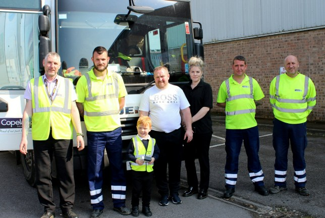 Riley McCourt with Copeland?s waste collection team members, plus mum Toni McCourt in black, dad Anthony in white T shirt. A four-year-old boy obsessed with collecting rubbish has fulfilled his dream - to work with his local BINMEN. See SWNS story SWLEbinman. Little Riley McCourt spends his days picking up waste on his street to help his neighbours. Riley even has his own custom high-visibility jacket - adorned with his name - and was given a blue mini-wheelie bin after asking for one for his birthday. However, Riley accidentally knocked over his bin two weeks ago and was mistakenly accused of spreading rubbish on the street by a disgruntled member of the public -who posted on a local forum. After Riley's innocence was proven, his local council decided to give him the day of his dreams by allowing him to work in his favourite job. Riley's mother Toni McCourt, 31, said he absolutely loves bins.