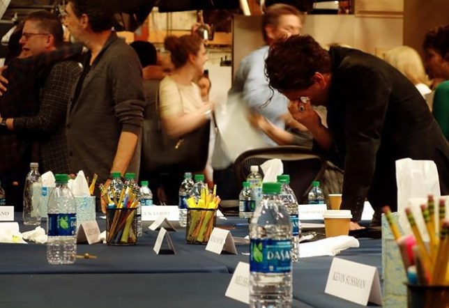 Johnny Galecki's Instagram from the final read of The Big Bang Theory shows entire cast and crew crying buckets From @sanctionedjohnnygalecki/Instagram https://www.instagram.com/p/BwqpX_9getV/