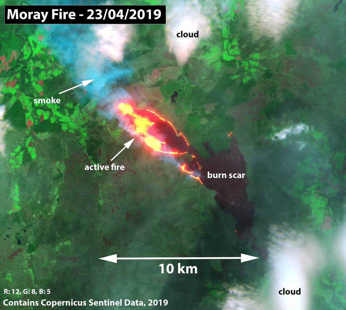 Satellite images showed the large areas impacted by the fire this week - Firefighters have been sent back to the scene of a major wildfire in Moray after the blaze reignited. It was said to have been dealt with by Thursday morning, but about six appliances have returned to the area around Knockando. The Scottish Fire and Rescue Service (SFRS) has battled several wildfires across the country in the past week. They included a blaze near Paul's Hill wind farm at Knockando which broke out on Monday. Crews helped to divert the fire from a building where electricity is routed. The fire which started on Paul's Hill is currently burning near Berry Burn wind farm. The Paul's Hill wind farm, which consists of 28 turbines, is operated by Fred Olsen Renewables. Stuart Naylor, UK operations manager for the company, praised the efforts of firefighters, as well as others who helped, such as gamekeepers. Picture: NCEOscience/Universal News And Sport (Scotland) 25/04/2019