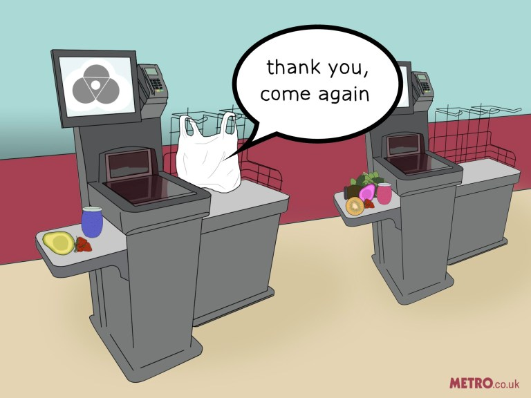 A self check out in the supermarket saying 'thank you, come again' (Illustration: Ella Byworth)