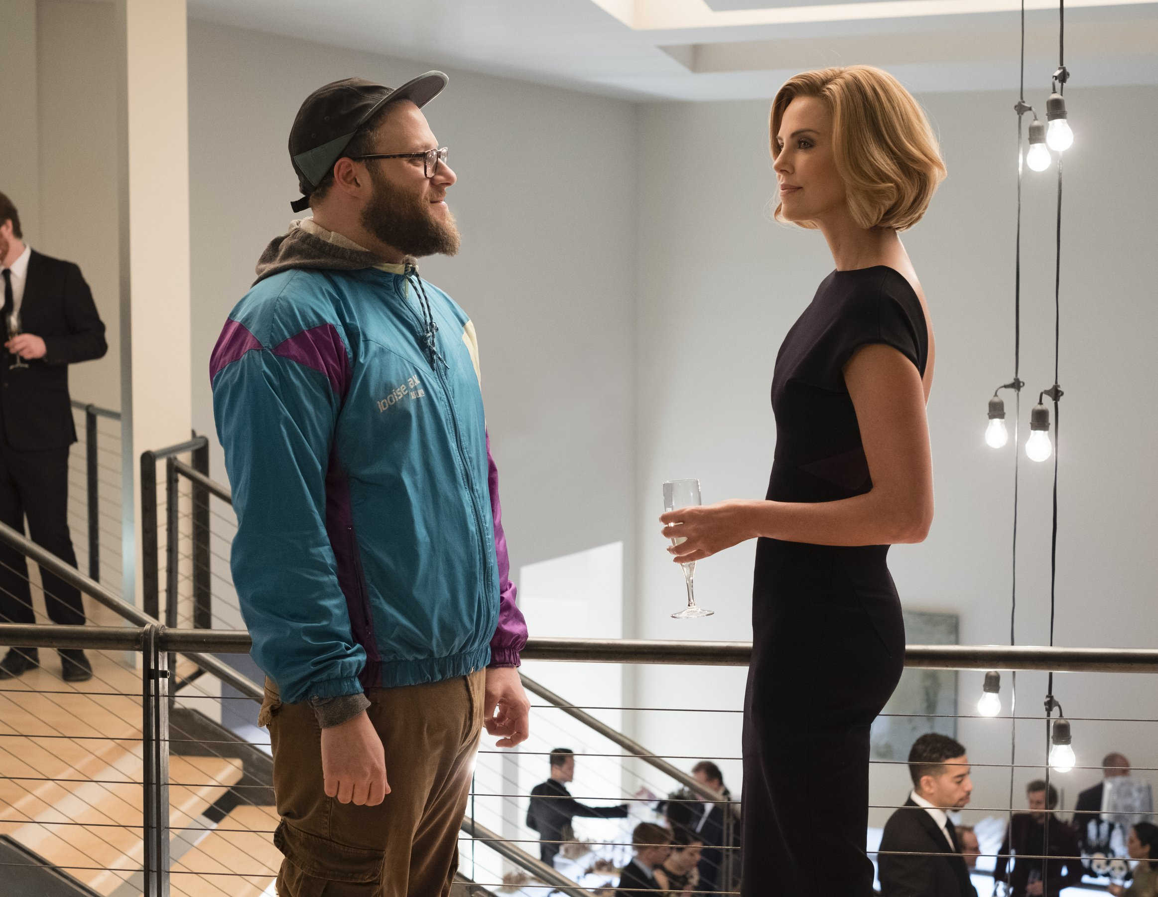 Seth Rogen and Charlize Theron in a scene from Long Shot.