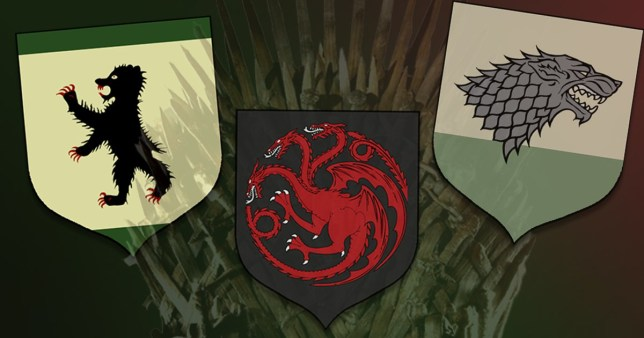 House Mormont, Targaryen and Stark sigils in front of the Iron Throne in Game of Thrones