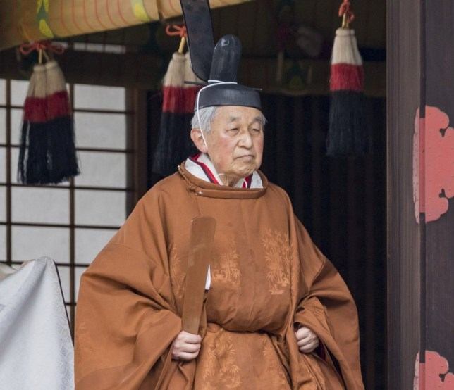 TOKYO, JAPAN - APRIL 30 : ( IMPERIAL HOUSEHOLD AGENCY HANDOUT/EDITORIAL USE ONLY/NO SALES/NO COMMERCIAL USE/NO MODIFICATION INCLUDING TRIMMING/MANDATORY CREDIT. ) Emperor Akihito, 85-year-old, attends the 'Taiirei Tojitsu Kashikodokoro Omae no Gi', a ceremony to report Goddess Amaterasu to hold his abdication ceremony at the Imperial Palace on morning of April 30, 2019, in Tokyo, Japan. Japan's Emperor Akihito's eldest son Crown Prince Naruhito will ascend the Chrysanthemum Throne on May 1. (Photo by IMPERIAL HOUSEHOLD AGENCY - HANDOUT/Anadolu Agency/Getty Images)