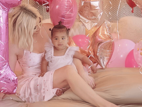 Khloe Kardashian decks out True with all the balloons and personalised doughnuts for her first birthday
