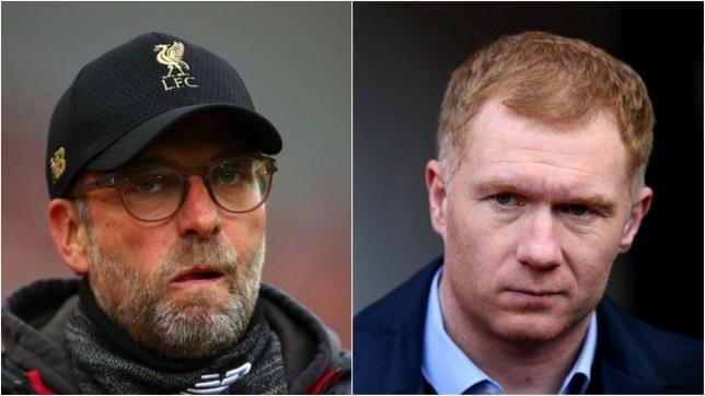 Liverpool boss Jurgen Klopp and Manchester United legend Paul Scholes