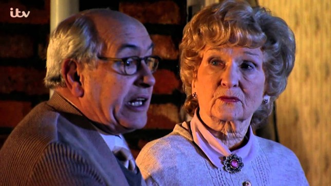 Emily Bishop and Norris Cole in Coronation Street
