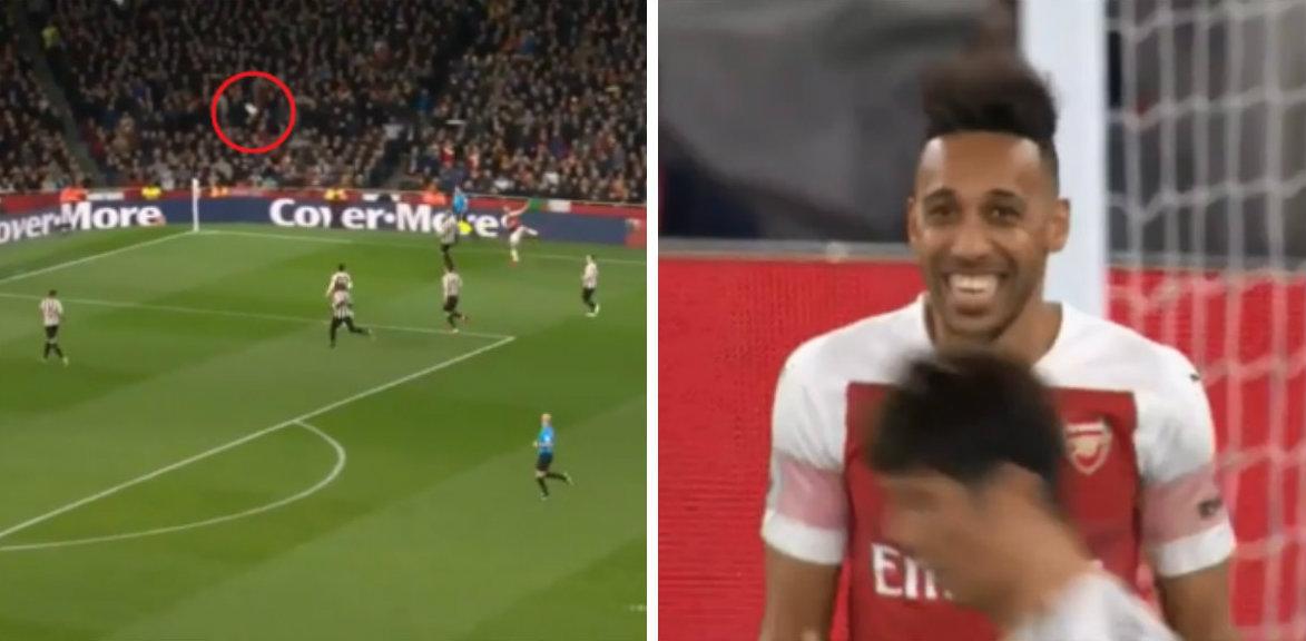 Pierre-Emerick Aubameyang laughs at Shkodran Mustafi's woeful cross against Newcastle