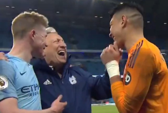 Manchester City star Kevin De Bruyne admitted he got lucky with his goal against Cardiff