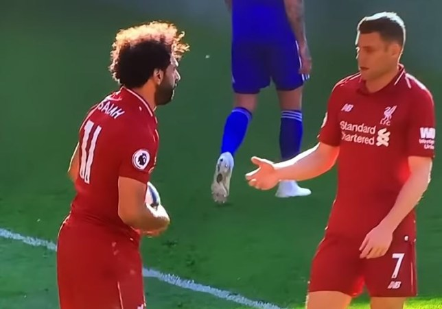 Mohamed Salah appeared to want to take Liverpool's late penalty against Cardiff