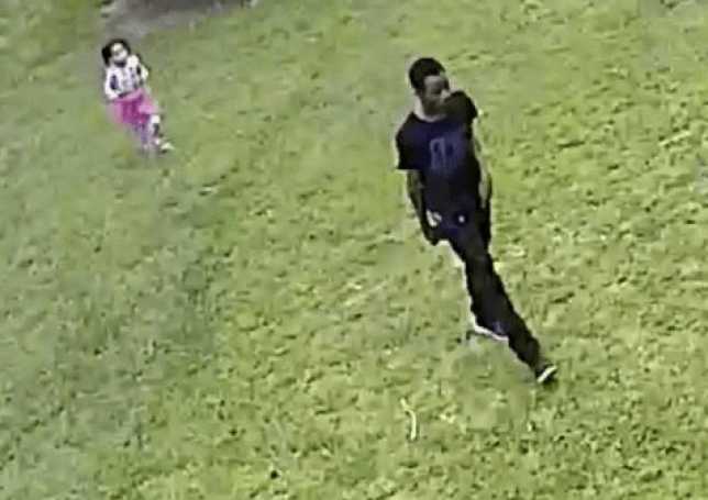 Maleah Davis runs behind her mother's boyfriend Derion Vence on April 30, the last time she was seen alive