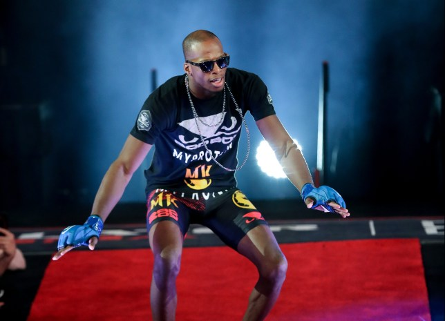 Michael Venom Page dances as he makes his entrance to the cage for his fight with Douglas Lima at Bellator 221
