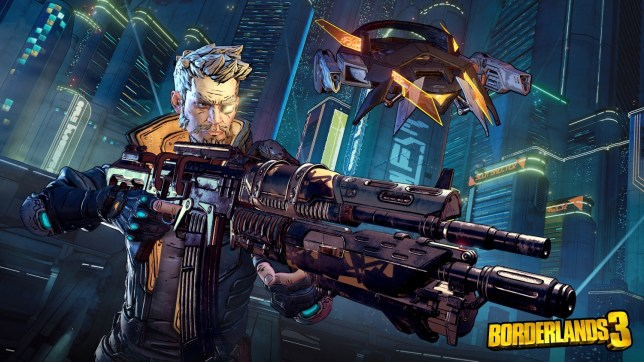 Zane a character from Borderlands 3 showing off his new gun