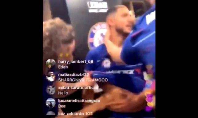 David Luiz was pinching Eden Hazard's stomach during Chelsea's celebrations