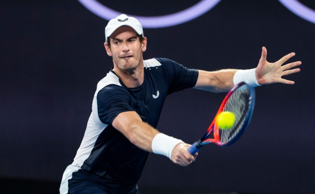 Andy Murray stretches for a backhand