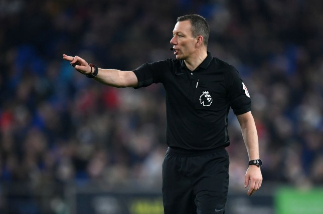 Kevin Friend issues instructions during the Premier League match between Cardiff City and Everton FC at Cardiff City Stadium