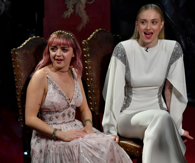 Maisie Williams and Sophie Turner at the Game Of Thrones premiere