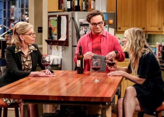 Christine Baranski with Johnny Galecki and Kaley Cuoco on The Big Bang Theory
