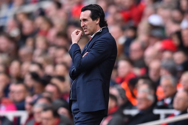 Arsenal's Spanish head coach Unai Emery gestures on the touchline during the English Premier League football match between Arsenal and Brighton and Hove Albion at the Emirates Stadium in London on May 5, 2019. (Photo by Glyn KIRK / AFP) / RESTRICTED TO EDITORIAL USE. No use with unauthorized audio, video, data, fixture lists, club/league logos or 'live' services. Online in-match use limited to 120 images. An additional 40 images may be used in extra time. No video emulation. Social media in-match use limited to 120 images. An additional 40 images may be used in extra time. No use in betting publications, games or single club/league/player publications. / (Photo credit should read GLYN KIRK/AFP/Getty Images)