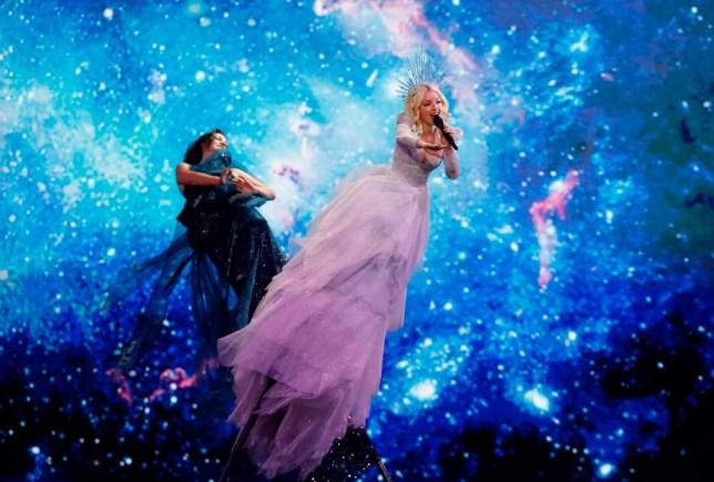 Kate Miller Heidke performing for Australia at Eurovision semi-final