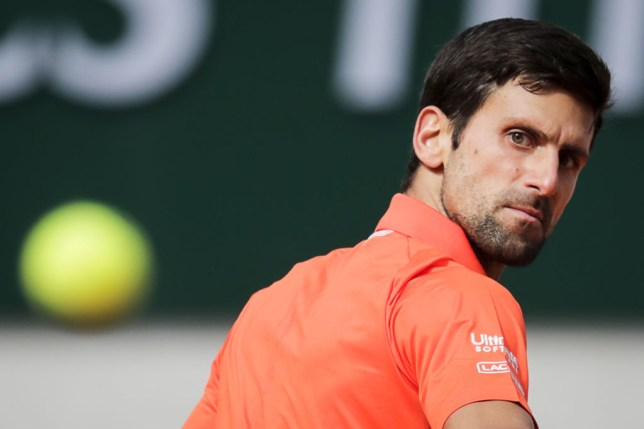 Novak Djokovic looks on fiercely during his French Open first round win