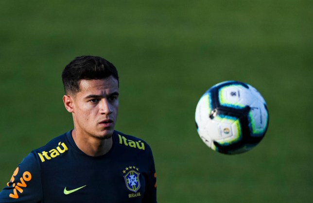 TERESOPOLIS, BRAZIL - MAY 29: Philippe Coutinho looks at the ball during a training session of the Brazilian national football team at the squad's Granja Comary training complex on May 29, 2019 in Teresopolis, Brazil. (Photo by Buda Mendes/Getty Images)