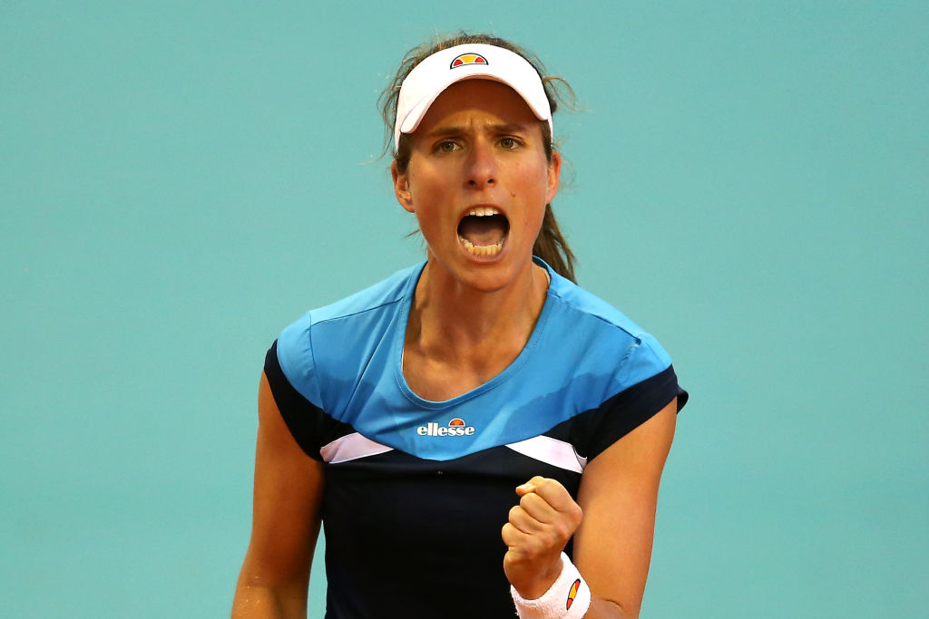 Johanna Konta storms into Madrid Open second round after late-night dash from Rabat