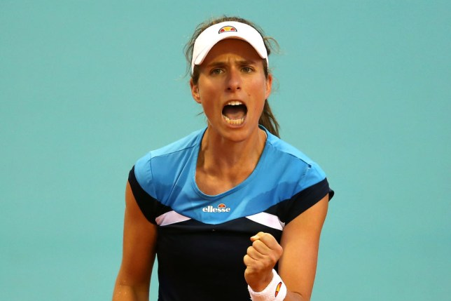 Konta roaring after winning a point