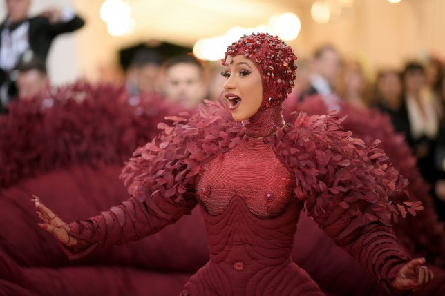 Cardi B wore red feathers and this £5 cream to the 2019 Met Gala