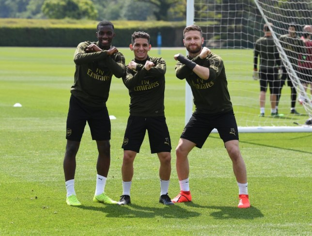 Arsenal players Shodran Mustafi, Lucas Torreira and Eddie Nketiah pose ahead of the Europa League final