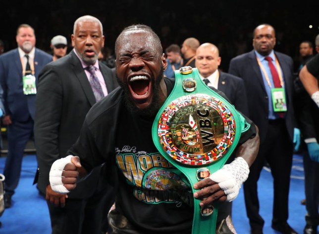 NEW YORK, NEW YORK - MAY 18: Deontay Wilder celebrates after knocking out Dominic Breazeale in the first round during their bout for Wilder's WBC heavyweight title at Barclays Center on May 18, 2019 in New York City. (Photo by Al Bello/Getty Images)