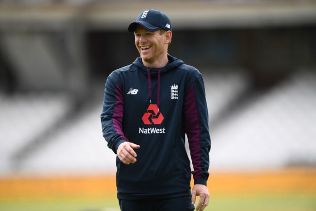England captain Eoin Morgan laughing during England Cricket training